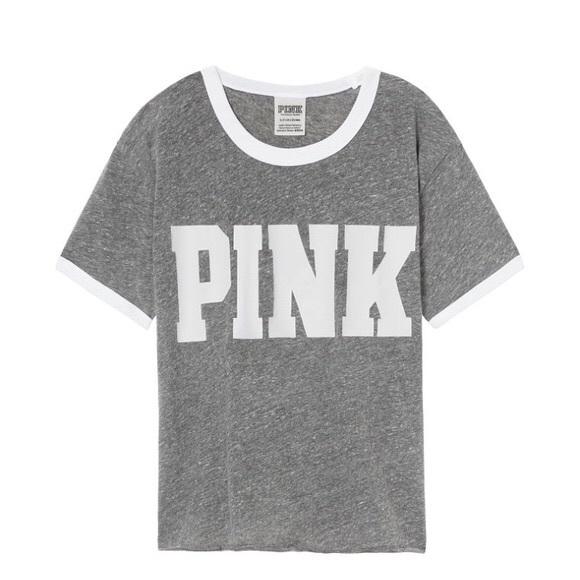 PINK Victoria's Secret Tops - PINK Victoria's Secret Ringer Grey Tee